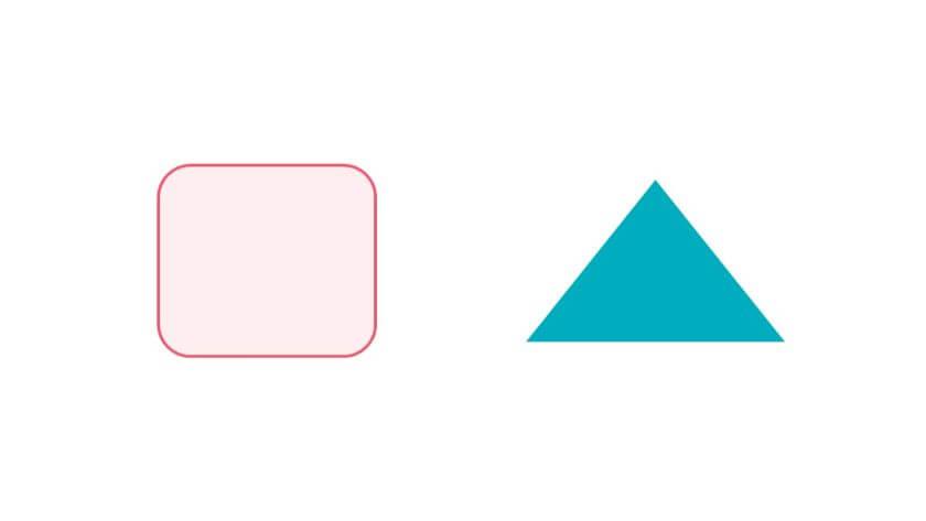 書式の異なる2つの図形