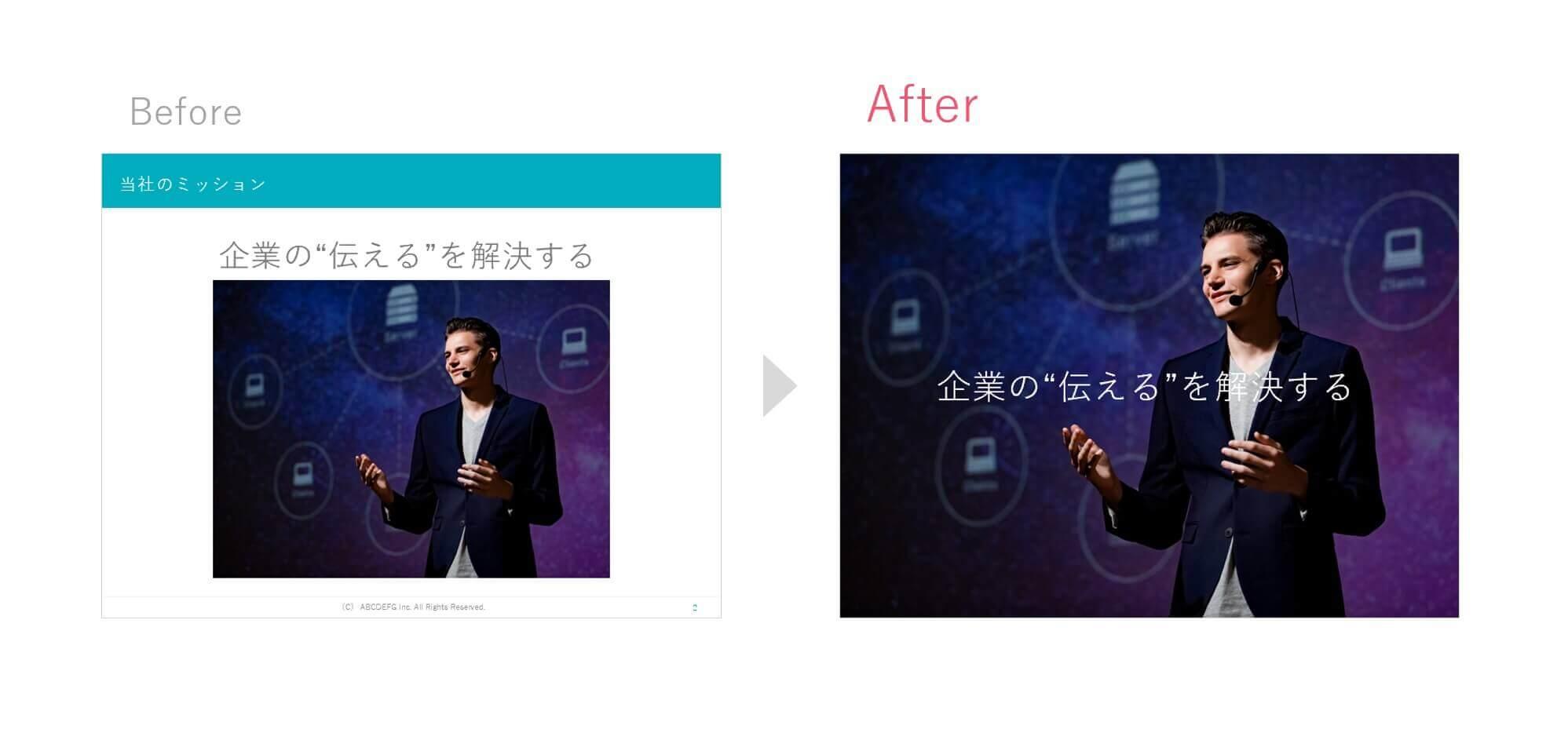 画像一部 vs 画像全面のスライド