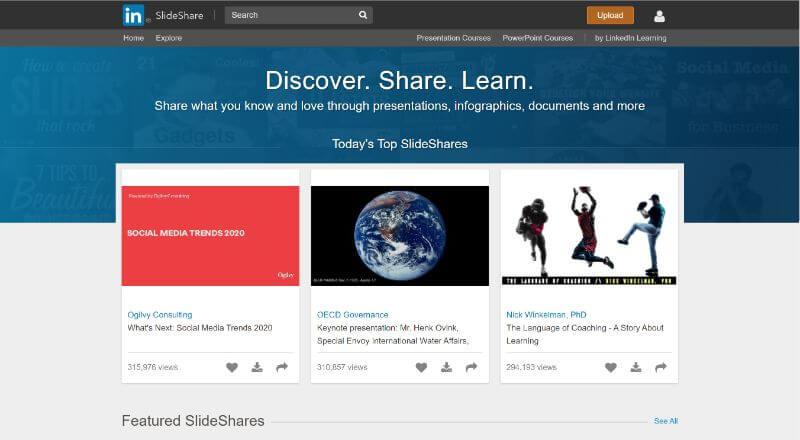 SlideShate トップ画面