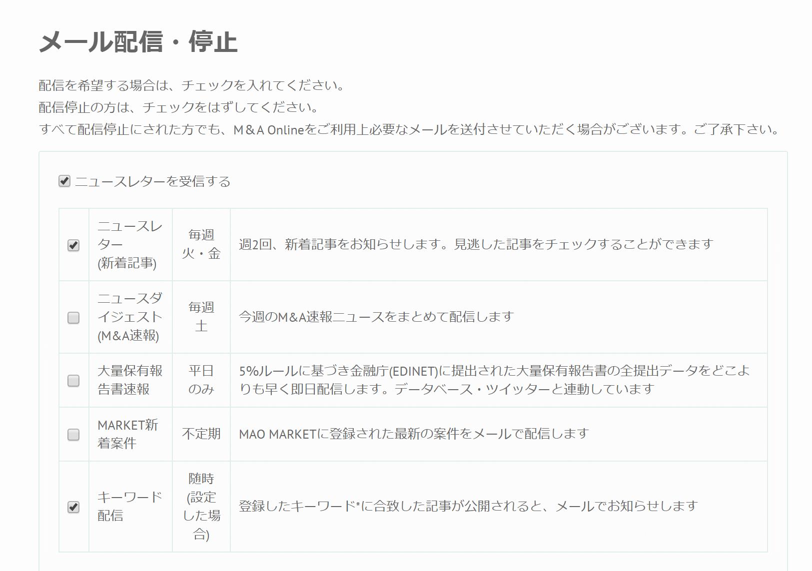 M&A Online メール配信設定画面